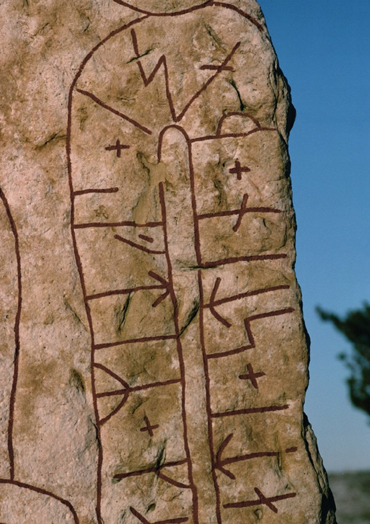 Sweden, runestone, close-up : Stock Photo