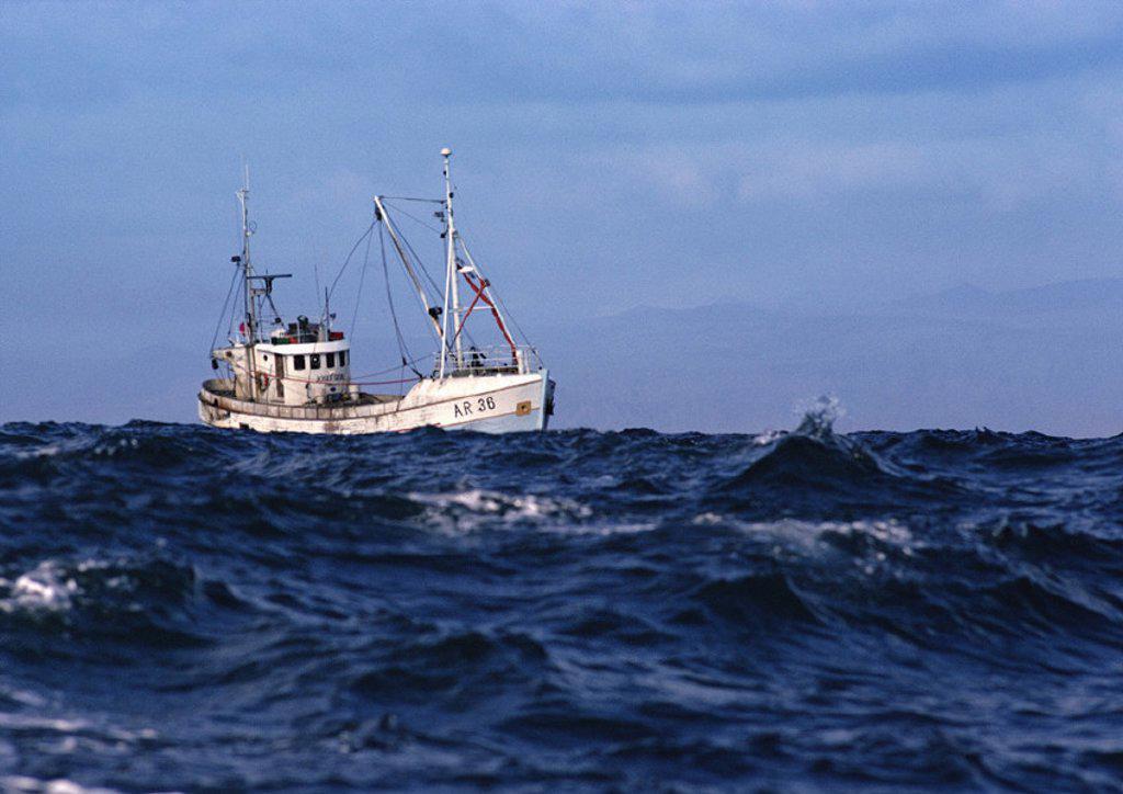 Stock Photo: 1569R-15109 Fishing boat at sea
