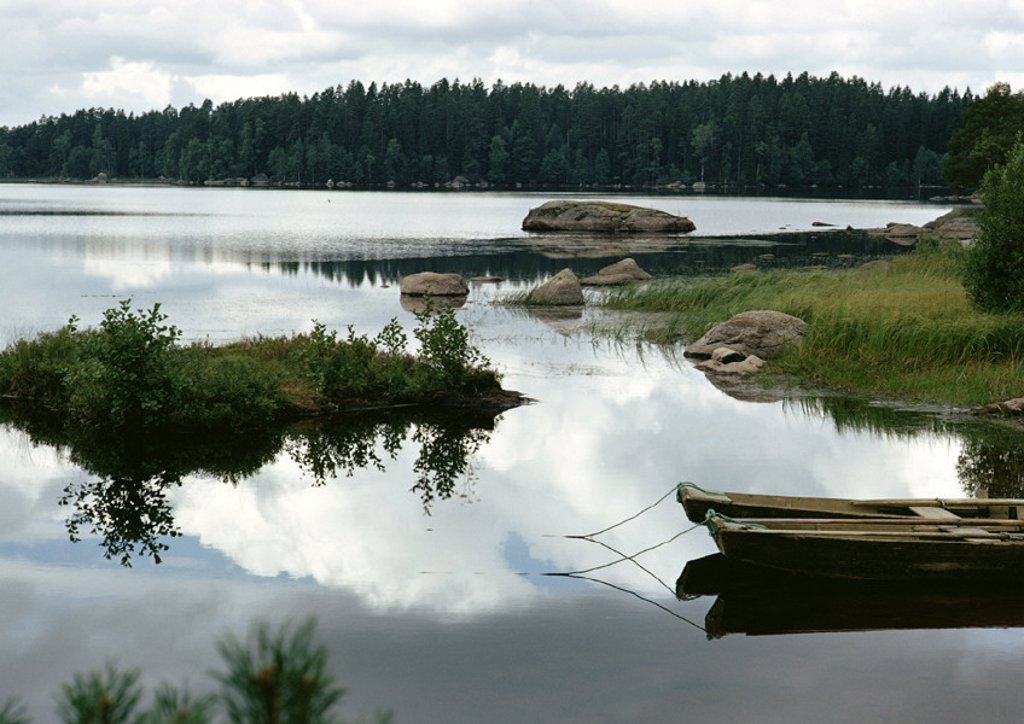 Finland, lake shore : Stock Photo