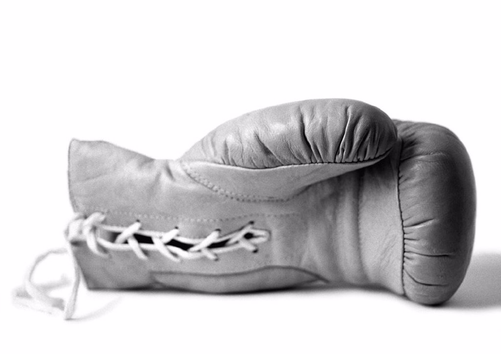 Boxing glove, b&w : Stock Photo