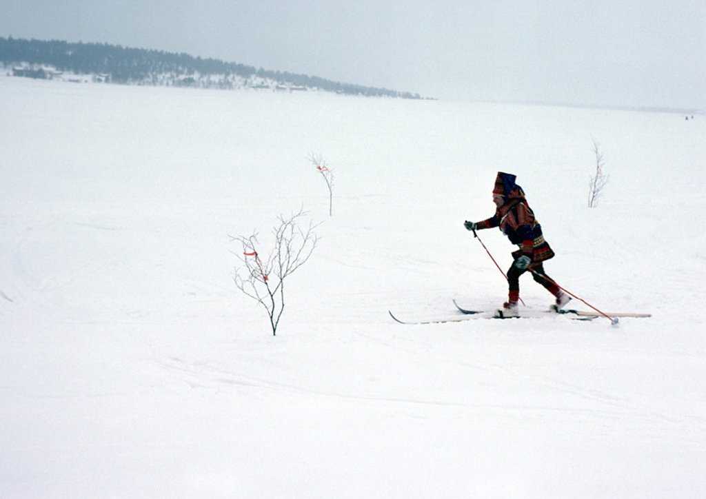 Finland, Saami cross-country skiing : Stock Photo