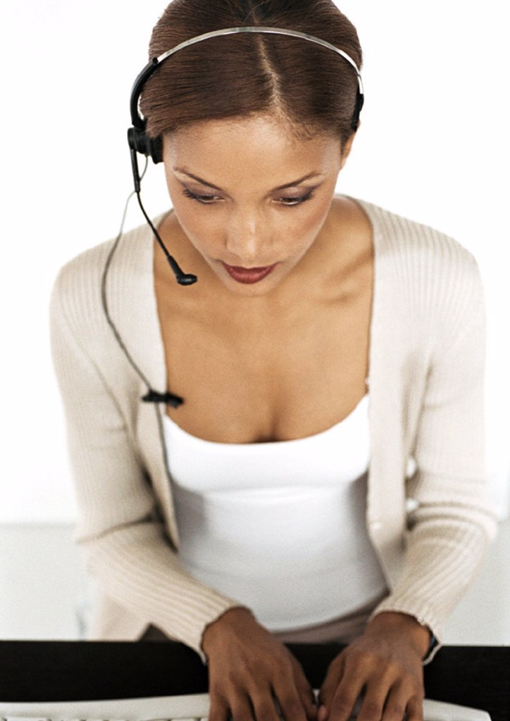 Stock Photo: 1569R-167070 Businesswoman wearing headset