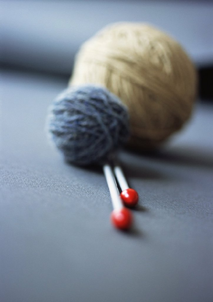 Stock Photo: 1569R-182021 Balls of yarn and knitting needles