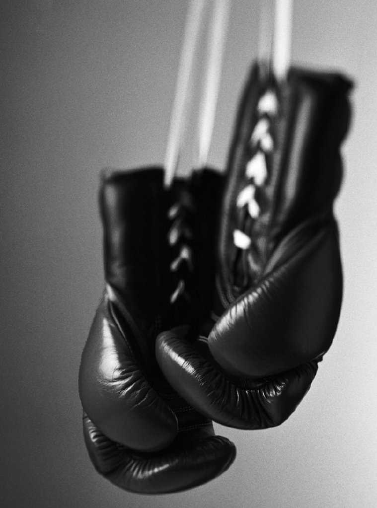 Boxing gloves, close-up, b&w : Stock Photo