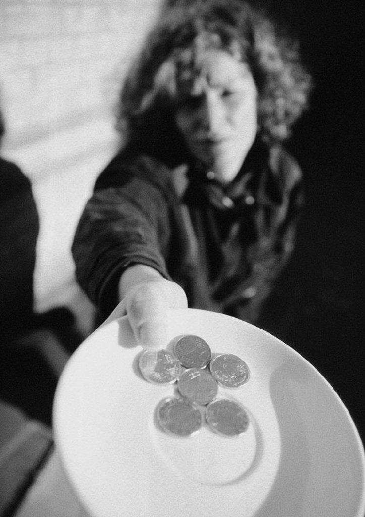 Beggar, b&w : Stock Photo