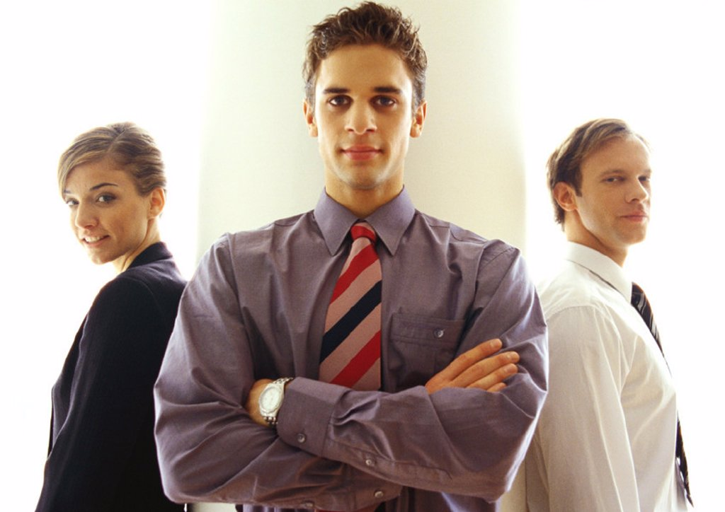 Stock Photo: 1569R-193045 Business people standing together, waist up
