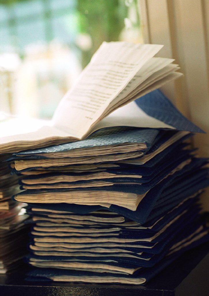 Stock Photo: 1569R-206019 Pile of notebooks