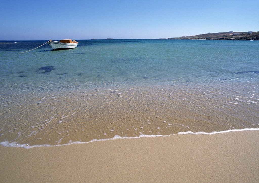 Stock Photo: 1569R-26040 Greece, Cyclades, seashore with small anchored boat