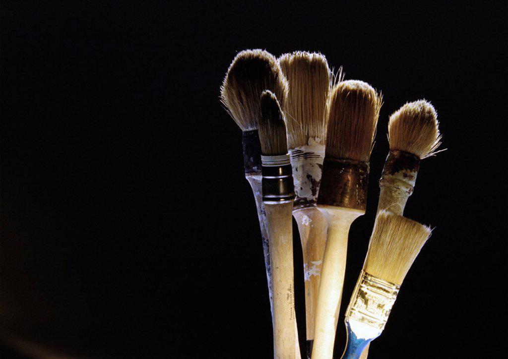 Paintbrushes on black background : Stock Photo