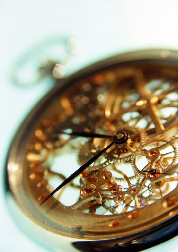 Stock Photo: 1569R-27104 Clockwork of pocket watch, close-up