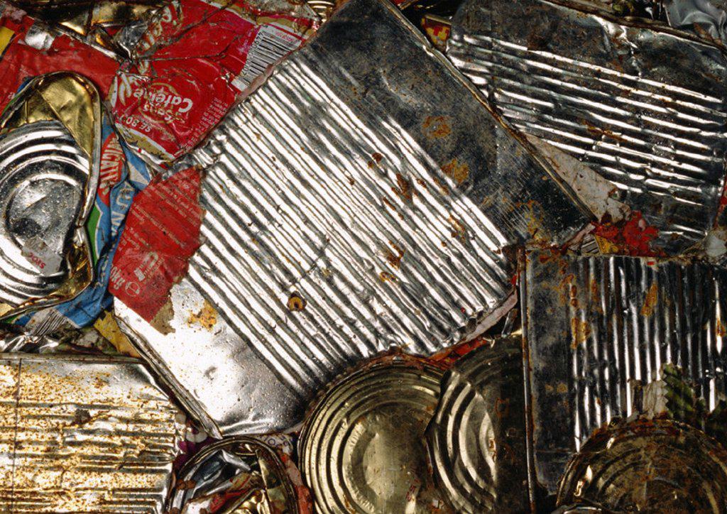 Flattened aluminum cans : Stock Photo