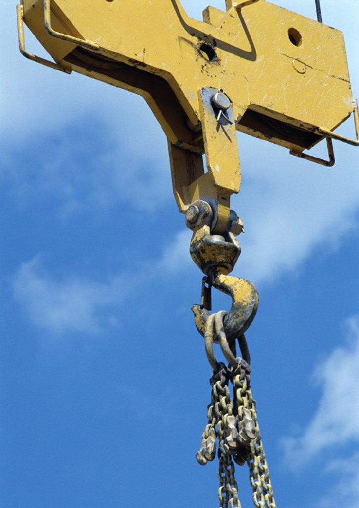 Stock Photo: 1569R-31115 Crane hook, close-up, sky in background