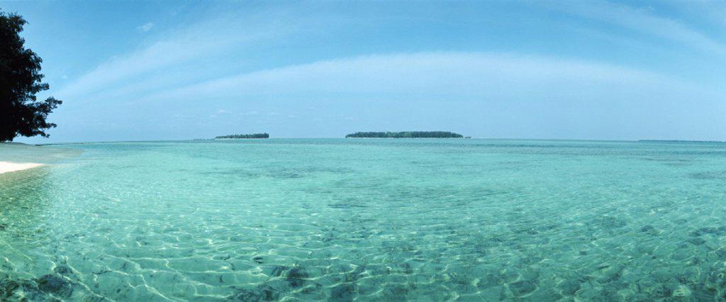 Indonesia, turquoise sea, panoramic view : Stock Photo