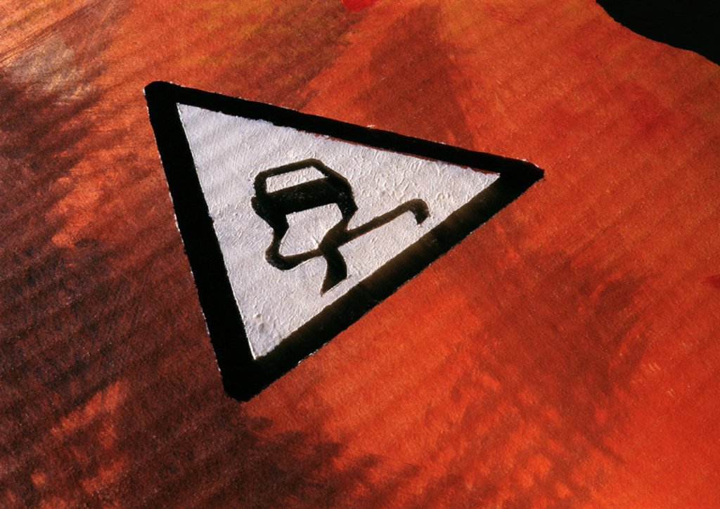 Stock Photo: 1569R-34048 Slippery road sign, close-up
