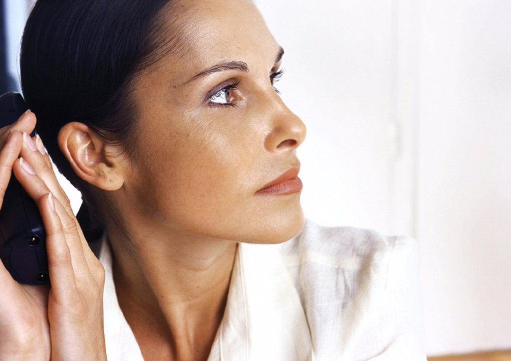 Woman´s face, side view : Stock Photo