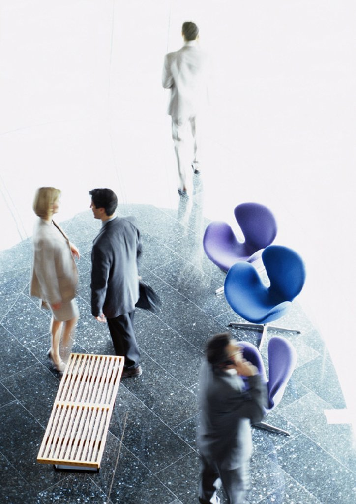 Stock Photo: 1569R-41026 Business people standing in lobby, elevated view