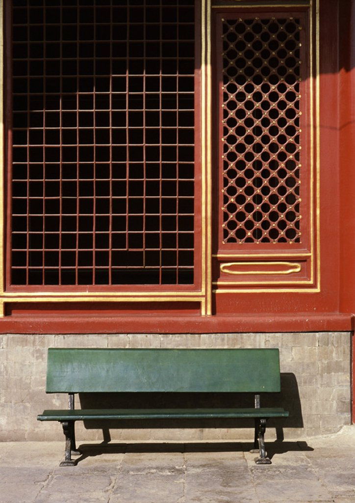 China, Beijing, bench in front of temple : Stock Photo