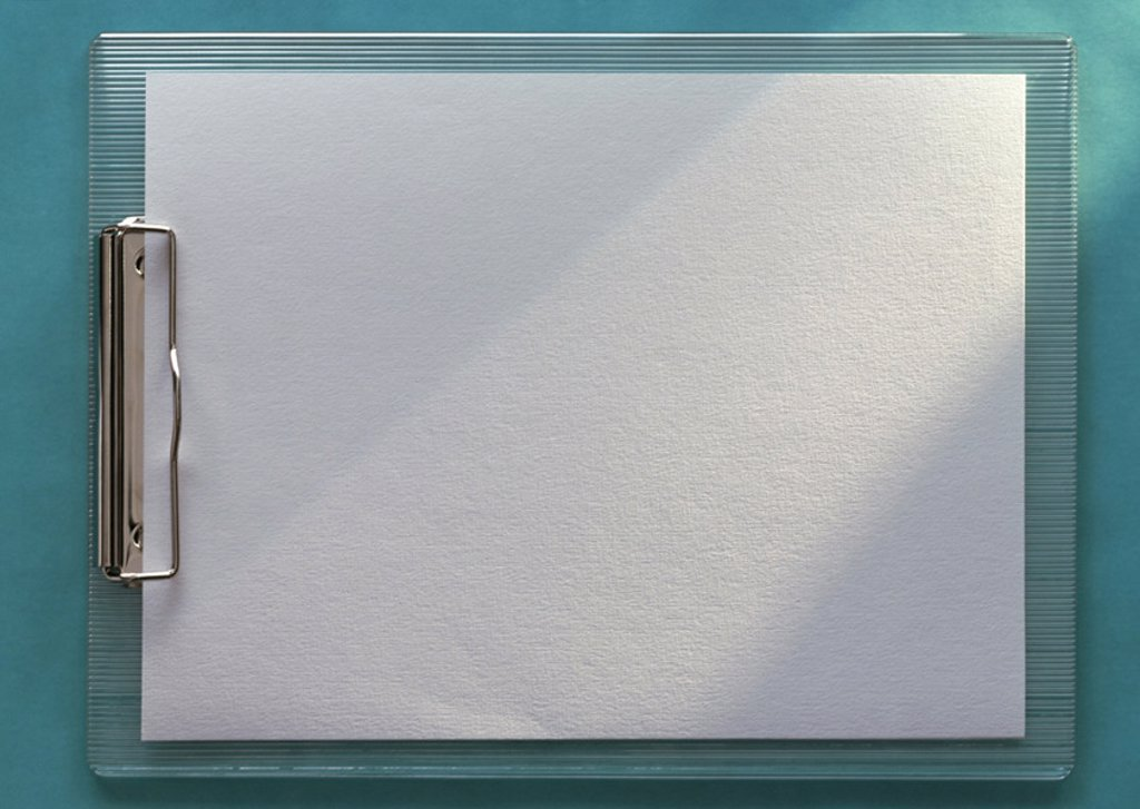 Stock Photo: 1569R-50013 Clipboard holding blank white paper, horizontal, full length, close-up, teal background