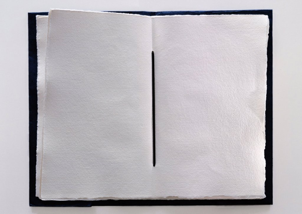 Handmade book with blank pages, close-up : Stock Photo