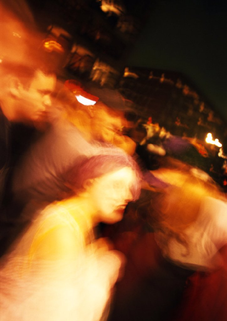 Stock Photo: 1569R-55082 Crowd at night, blurred