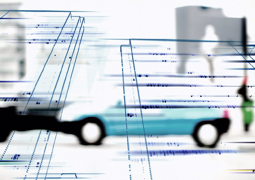 Stock Photo: 1569R-77014 Architectural drawing superimposed on cars in street