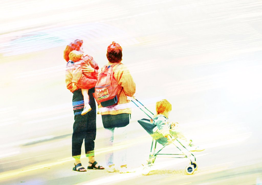 Two woman with children and stroller, with faint streaks, montage : Stock Photo