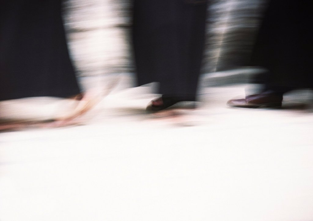 Israel, Jerusalem, procession, close-up of feet walking, blurred : Stock Photo