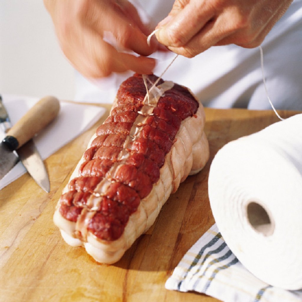 Close-up of beef being prepared : Stock Photo