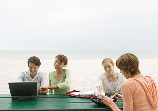 Stock Photo: 1569R-9012529 Four adults sitting at picnic table on beach, looking at laptop and agendas