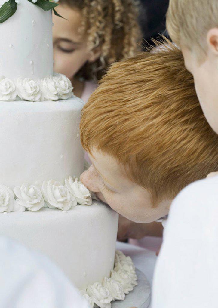 Boy eating wedding cake : Stock Photo