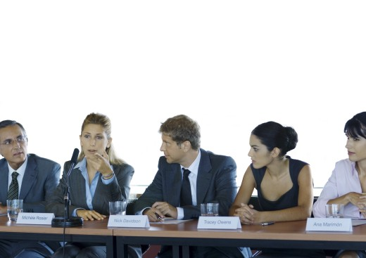 Stock Photo: 1569R-9015213 Businesspeople in committee meeting