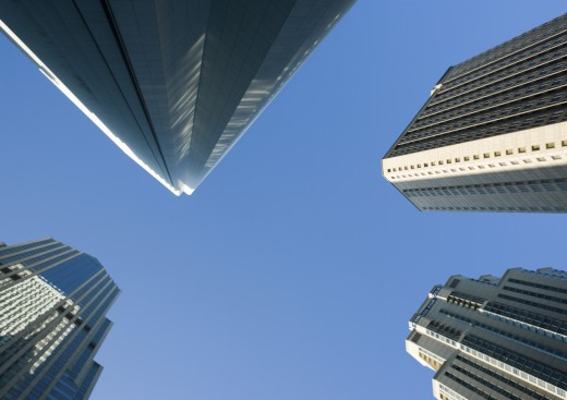 Stock Photo: 1569R-9015489 Skyscrapers, low angle view