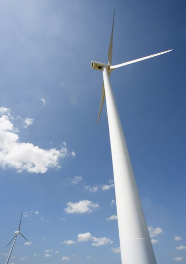 Stock Photo: 1569R-9016331 Wind turbines, low angle view