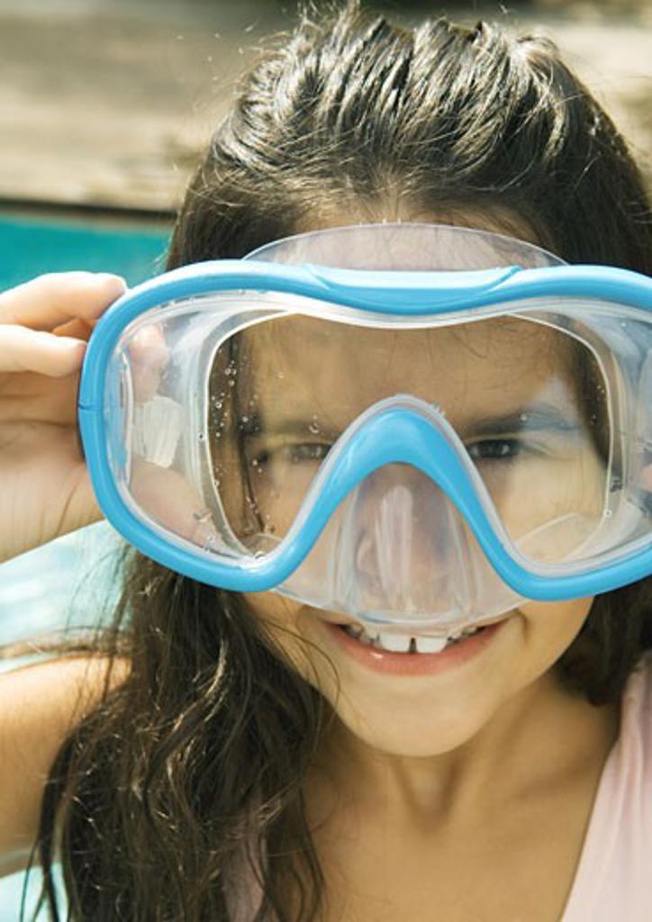 Girl wearing scuba mask : Stock Photo