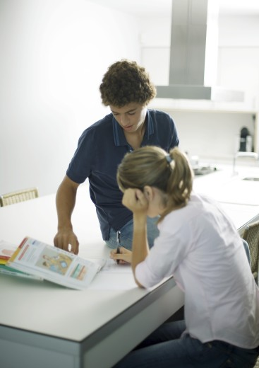 Adolescent boy helping sister with homework : Stock Photo
