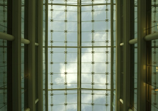 Building interior, low angle view of glass roof : Stock Photo