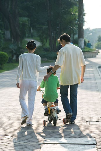 Parents walking next to son on bicycle with training wheels, rear view : Stock Photo