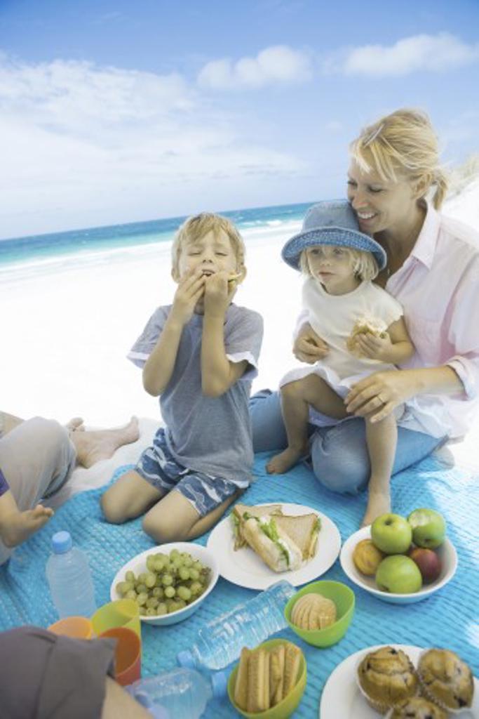 Stock Photo: 1569R-9023375 Family having picnic on beach