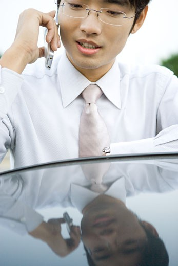 Stock Photo: 1569R-9024383 Businessman using cell phone