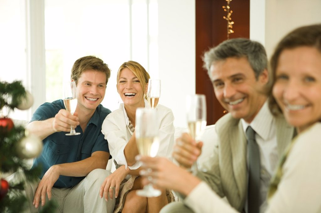 Adult friends making a toast with champagne, smiling at camera : Stock Photo