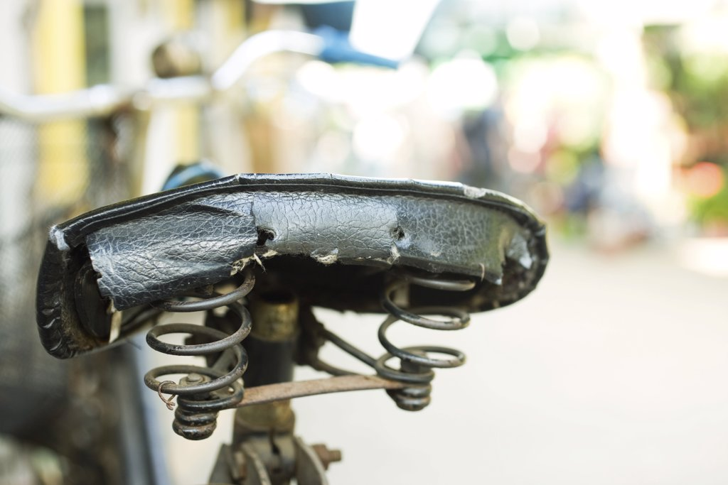 Bicycle seat, close-up : Stock Photo