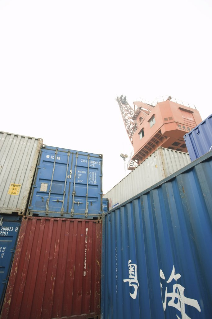 Cargo containers, low angle view : Stock Photo