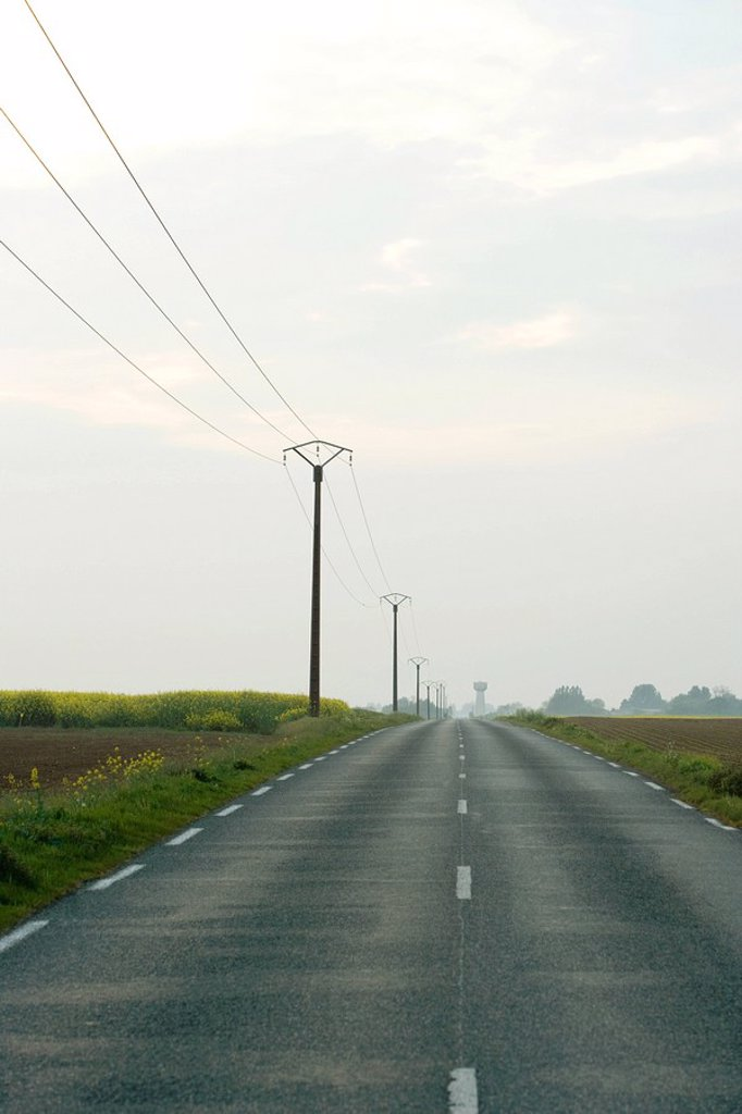 Road and telephone lines in countryside : Stock Photo
