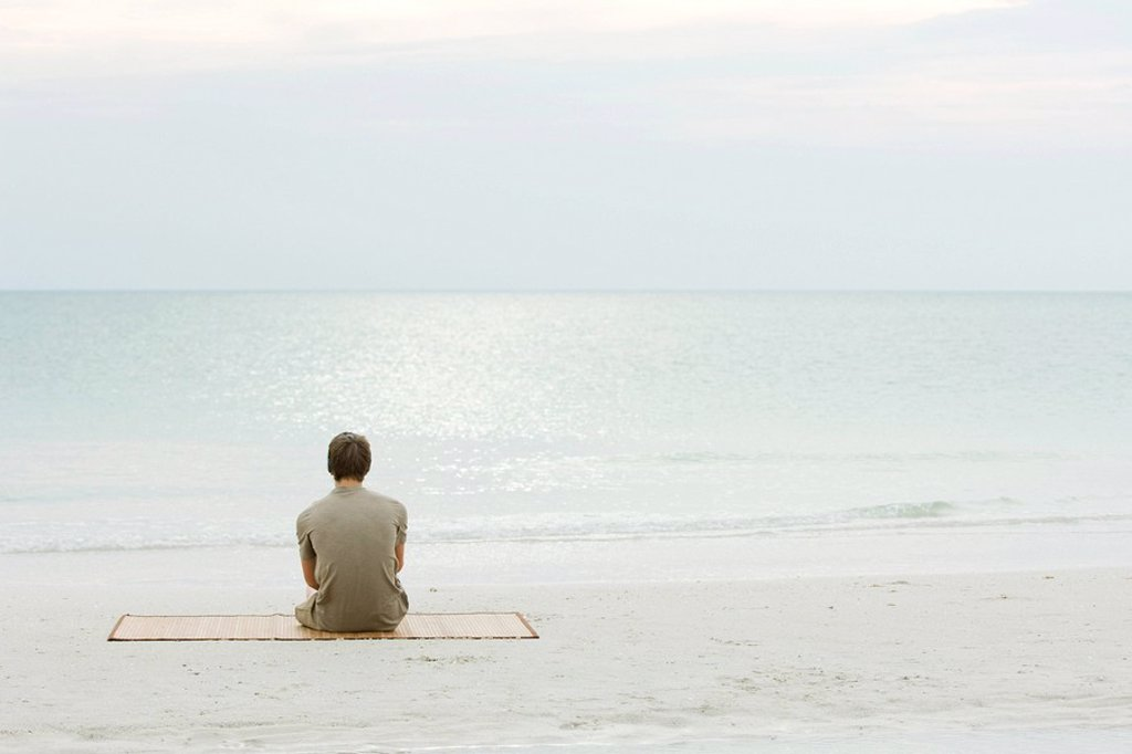 Teenage boy sitting at the beach, looking at the ocean, rear view : Stock Photo