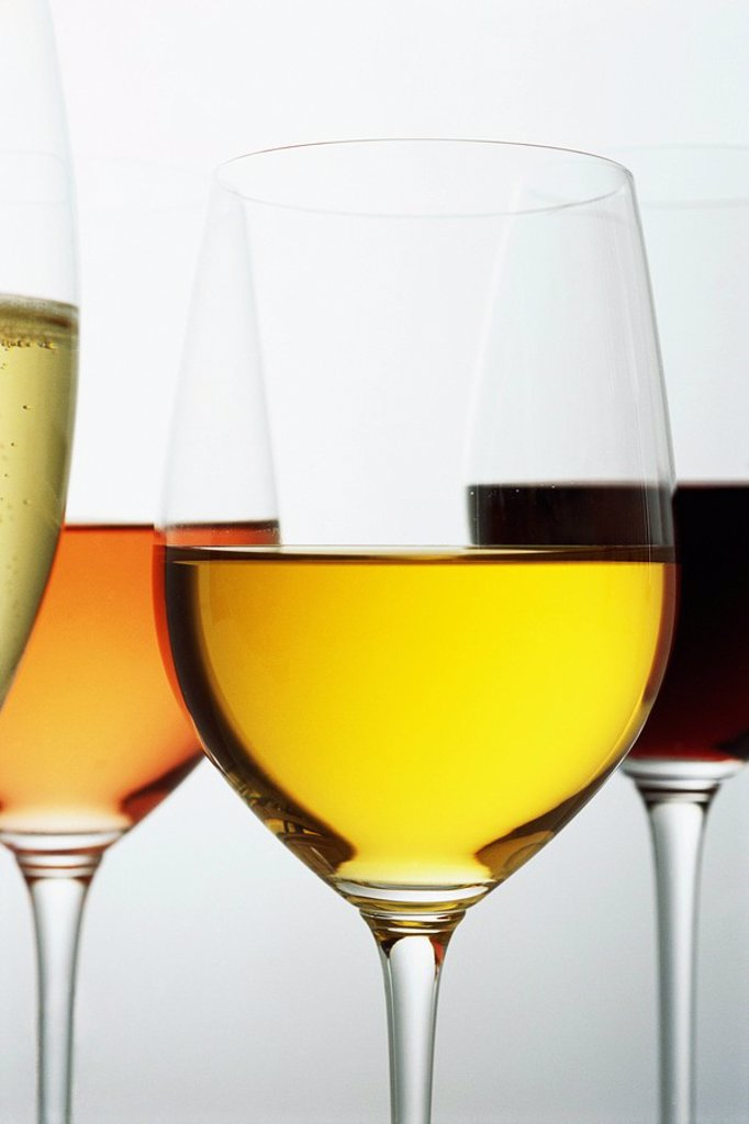Various wines in glasses, close-up : Stock Photo