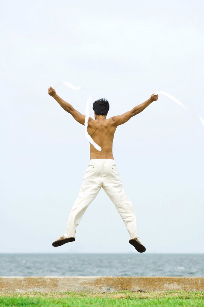 Man jumping into the air with streamers in hands, rear view, ocean horizon in background : Stock Photo