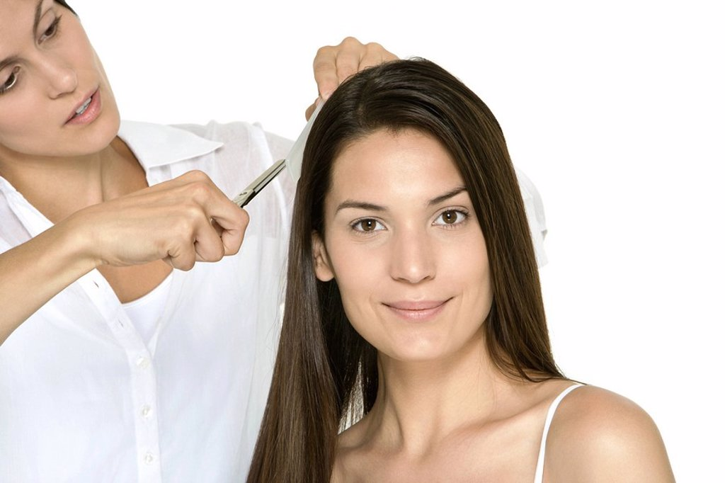 Stock Photo: 1569R-9036547 Woman having her hair cut by stylist, smiling at camera