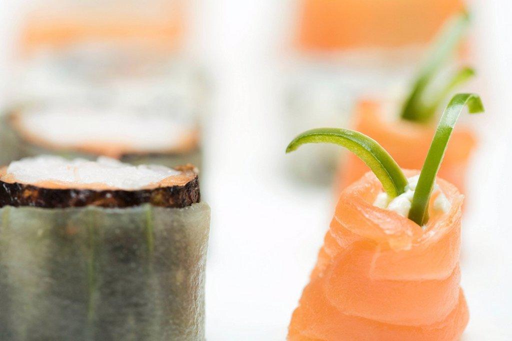 Stock Photo: 1569R-9038007 Cropped view of assorted maki-sushi, close-up
