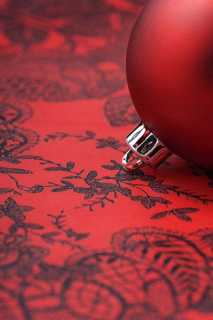 Red Christmas tree ornament, detail : Stock Photo