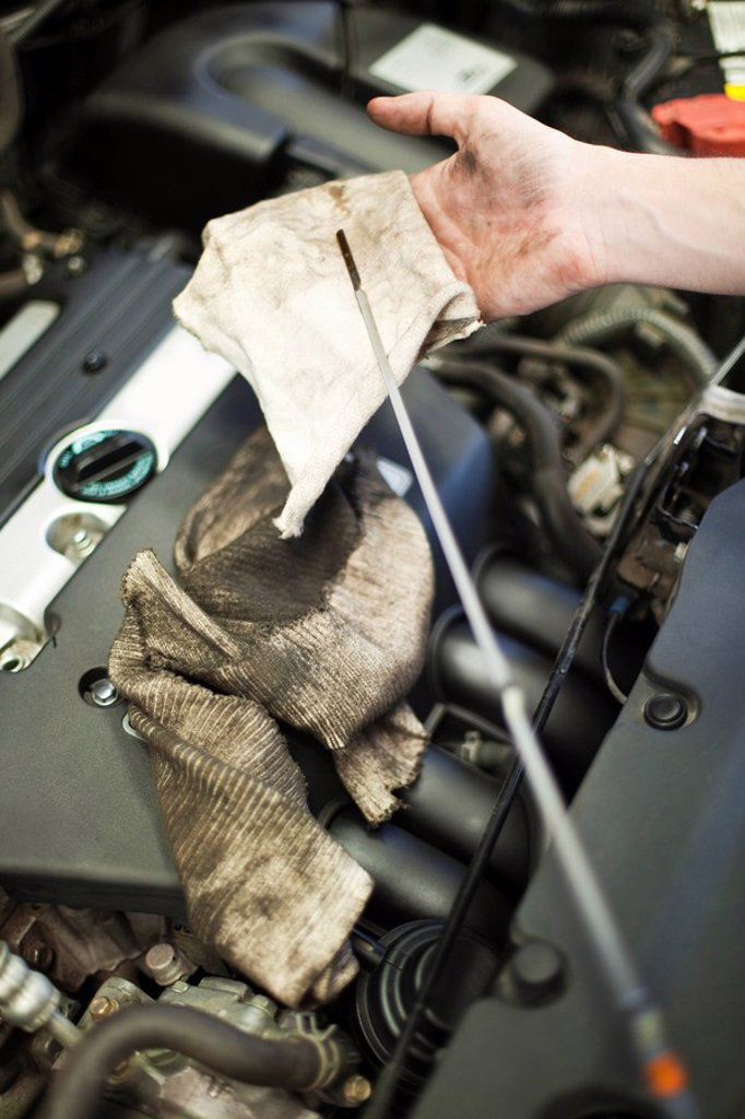 Checking car engine oil : Stock Photo